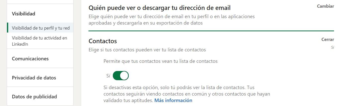 visibilidad contactos Linkedin