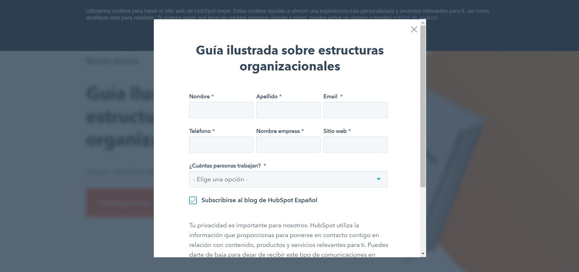 formulario landing page hubspot