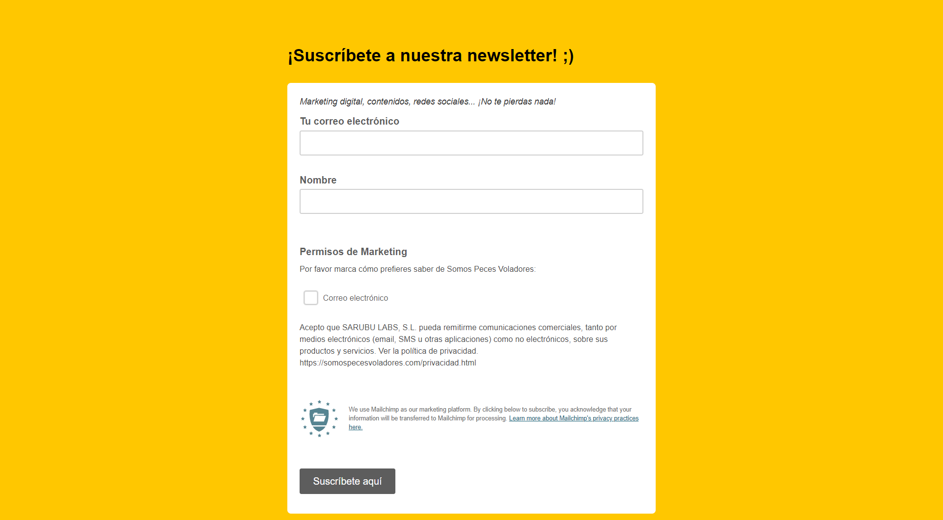 landing page newsletter somos peces voladores